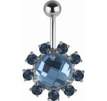 Piercing nombril Swarovski cristaux bleus