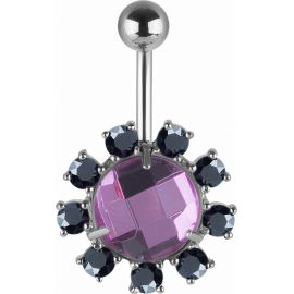 Piercing nombril Swarovski cristaux violet