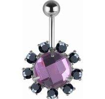 Piercing nombril Swarovski cristaux violet