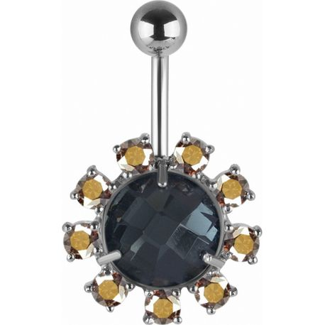 Piercing nombril Swarovski cristaux noirs