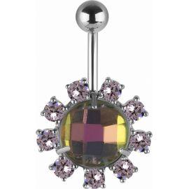 Piercing nombril Swarovski cristaux aurore boréale
