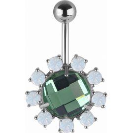 Piercing nombril Swarovski cristaux verts