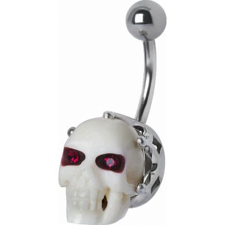 Piercing nombril Swarovski crâne blanc