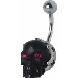 Piercing nombril Swarovski crâne noir