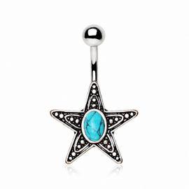 Piercing nombril étoile pierre turquoise