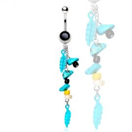 Piercing nombril plumes tribal turquoise