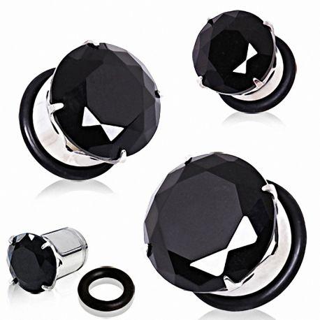 Piercing plug acier zircon noir
