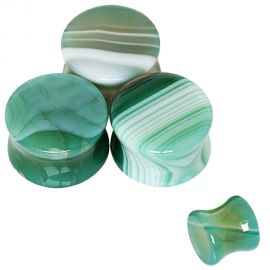 Piercing plug pierre naturelle agate verte