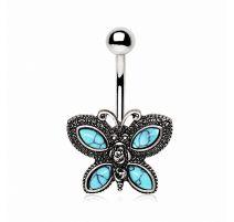 Piercing nombril papillon turquoise