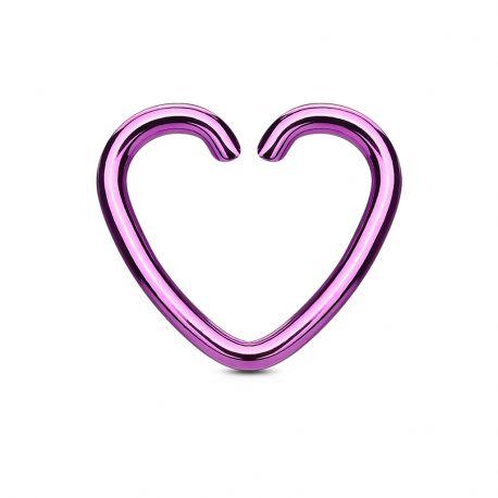 Faux Piercing Oreille Cartilage Titane Coeur