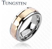 Bague Tungstène Multi-facettes Carré Rosé