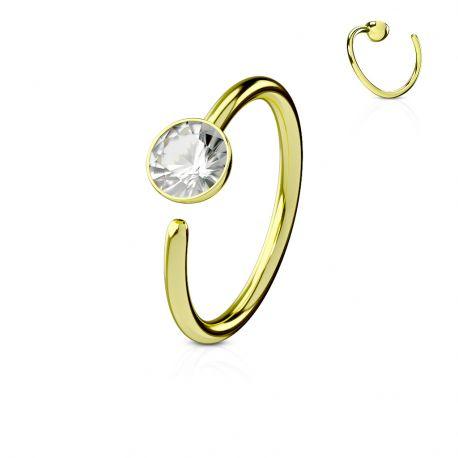 Piercing nez anneau titanium gemme