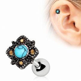 Piercing cartilage hélix rectangulaire turquoise