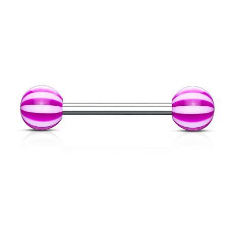 Piercing langue Acier Boules Acrylique Candy