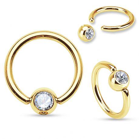 Piercing anneau catif plaqué or strass blanc