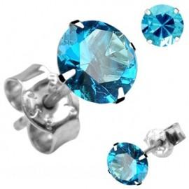 Paire Boucles d'oreille Clous Argent Pierre Ronde Turquoise