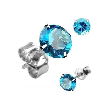 Paire Boucles d'oreille Clous Pierre Ronde Turquoise en Argent