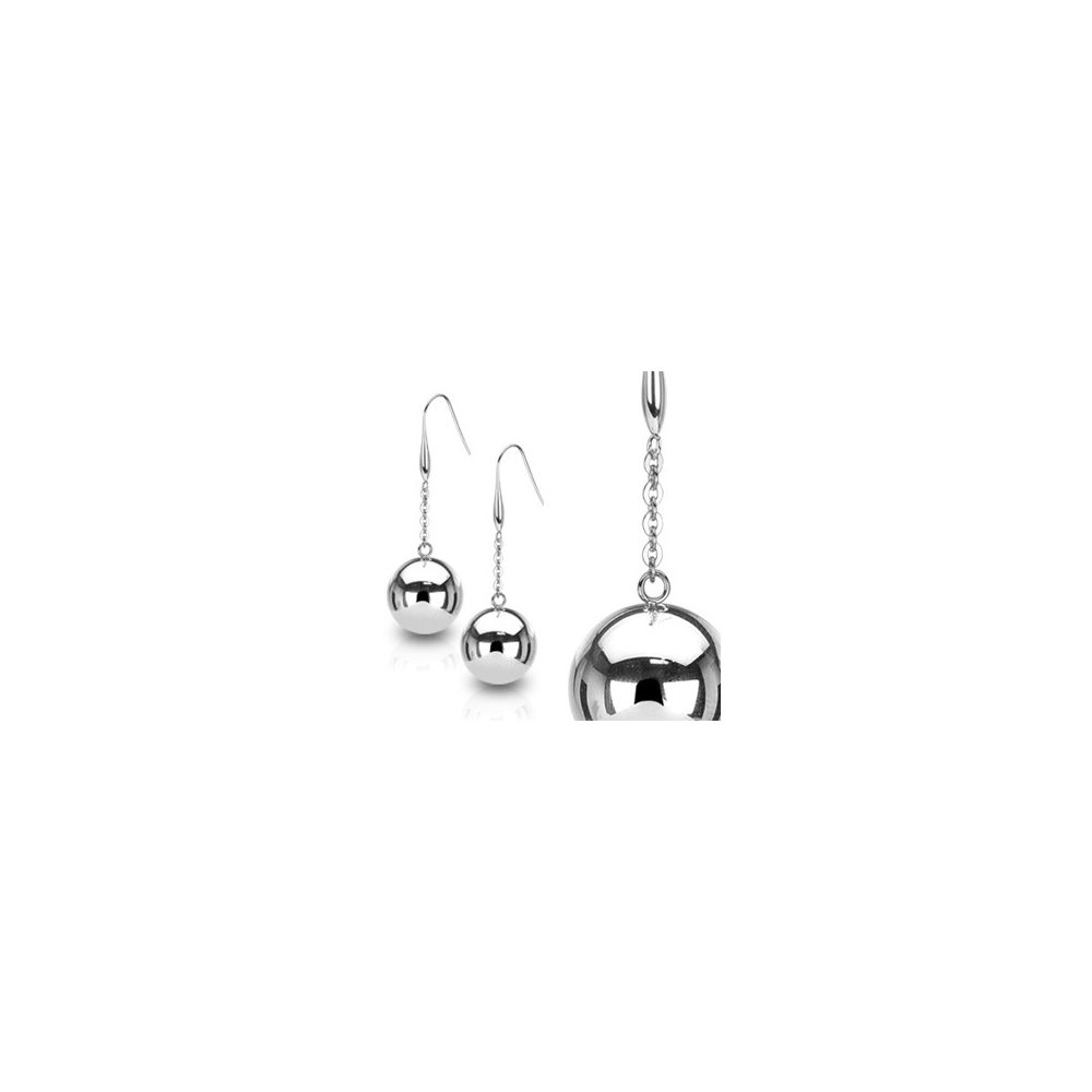 paire boucles d 39 oreille pendantes larges boules. Black Bedroom Furniture Sets. Home Design Ideas