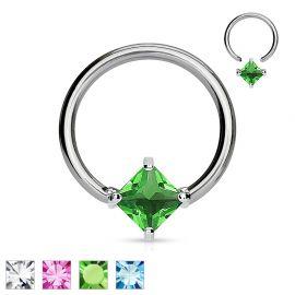 Piercing anneau Captif Strass Carré