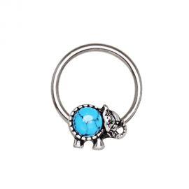 Piercing anneau captif éléphant turquoise