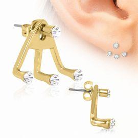 Piercing lobe d'oreille trident quatre strass