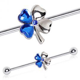 Piercing oreille industriel trèfle quatre feuilles bleu
