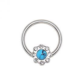 Piercing anneau captif fleur turquoise