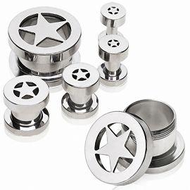 Piercing tunnel oreille acier étoile