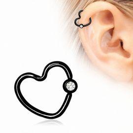 Piercing cartilage hélix coeur noir