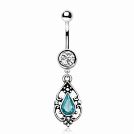 Piercing nombril pendentif antique turquoise