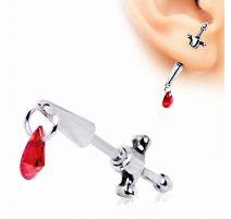 Piercing faux écarteur oreille dague médiévale