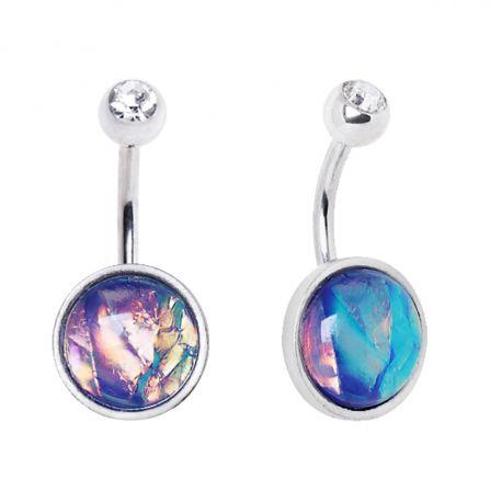 Piercing nombril rainbow opale de synthèse