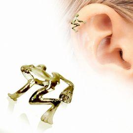 Faux piercing cartilage hélix plaqué or grenouille