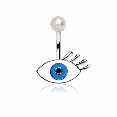 Piercing nombril oeil bleu
