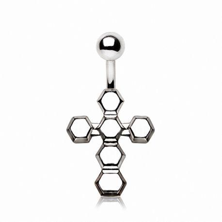 Piercing nombril croix géométrique en acier chirurgical