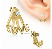 Piercing lobe d'oreille trident love