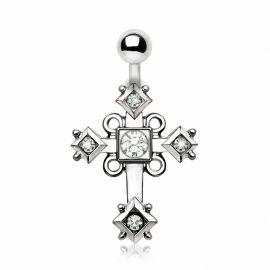 Piercing nombril croix ornée en acier chirurgical