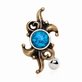 Piercing nombril inversé plaqué or turquoise