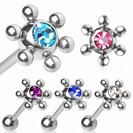 Piercing langue acier multi billes
