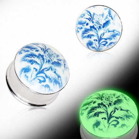 Piercing plug floral glow in the dark