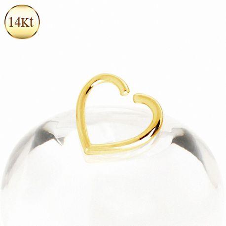 Faux piercing cartilage hélix coeur or jaune 14 carats
