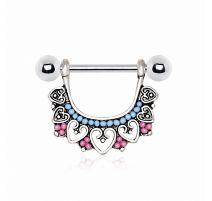 Piercing téton pendentif multi coeurs et perles