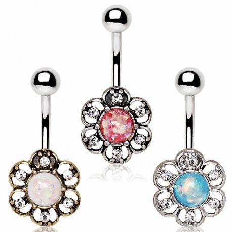 Piercing nombril floral opale