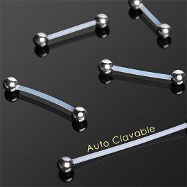 Piercing barbell retainer Bioflex et boules acier