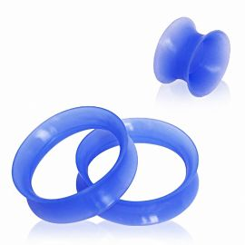 Piercing tunnel silicone bleu ultra fin