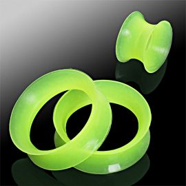 Piercing tunnel silicone vert ultra fin