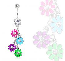 Piercing nombril marguerites multicolores