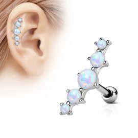Piercing cartilage cinq opale blanc