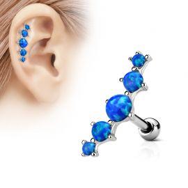 Piercing cartilage cinq opale bleu