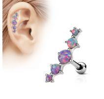 Piercing cartilage cinq opale violet